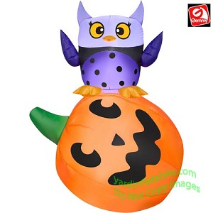Gemmy Airblown Inflatable 4' Halloween Owl On Pumpkin