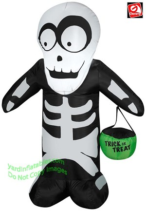 3 1/2' Skeleton Holding Tick Or Treat Tote
