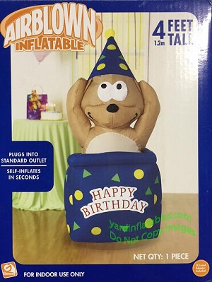 4' Happy Birthday Dog In Present Wearing Hat