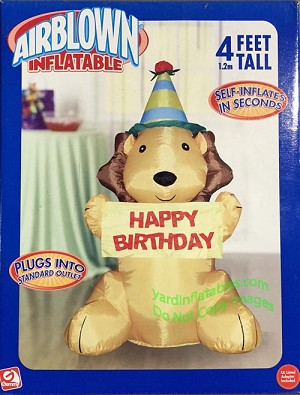 4' Happy Birthday Lion Wearing Party Hat