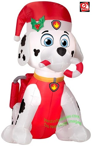 3' Paw Patrol Marshall Fire Dog Holding Candy Cane