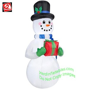6 1/2' Snowman w/ Blue Scarf Holding Gift