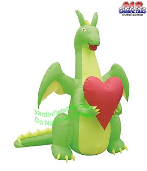 Air Blown 7' Valentine's Day Dragon Holding Heart