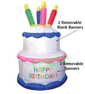 Air Blown Inflatable 7' Birthday Cake