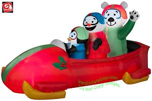 Animated Shaking Penguin And Friends In Bobsled