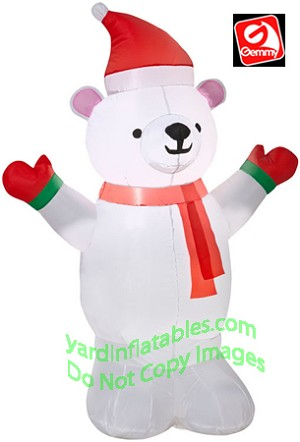 4' Polar Bear Wearing Red Mittens and Red Scarf