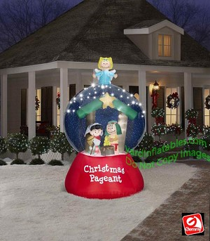 Gemmy airblown inflatable peanuts nativity pageant led for Air blown christmas decoration