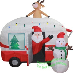 7 Air Blown Inflatable Santa Mobile Home Scene
