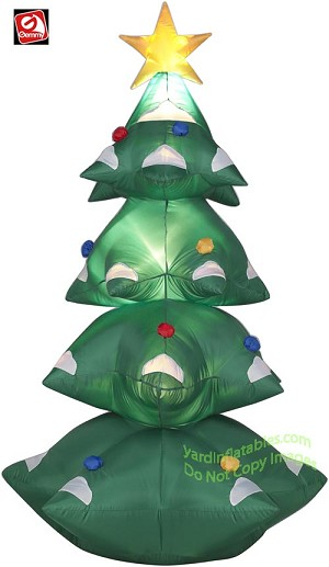 Gemmy Airblown Inflatable 6 Christmas Tree W Star Ornaments