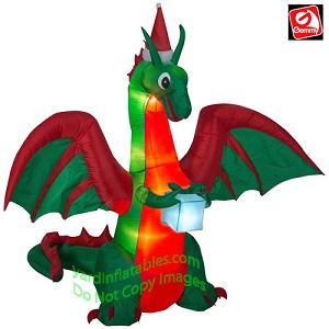 8' Kaleidscope Christmas Dragon with Flaming Mouth and Present