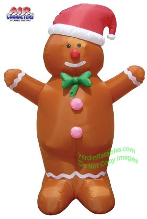 7' Gingerbread Man Wearing Santa Hat