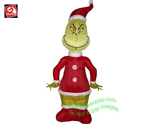 4 inflatable grinch dressed as santa - Inflatable Christmas