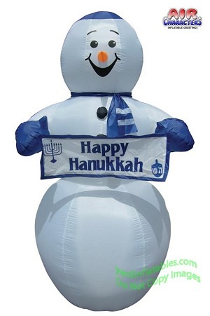 7' Hanukkah Snowman With Banner NEW FACE