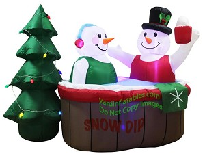 7 Air Blown Inflatable Snowman Couple In Hot Tub