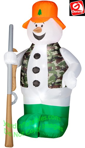 Hunting Snowman Holding Rifle