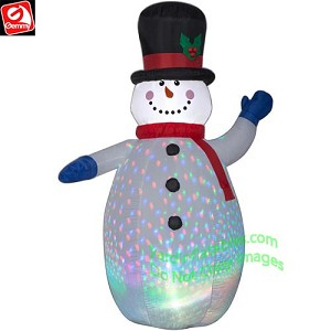 6 1/2' COLOR FLASH Snowman w/ Red Scarf & Blue Mittens