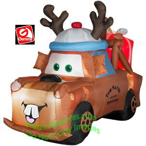mater with reindeer hat and present - Disney Christmas Blow Up Yard Decorations