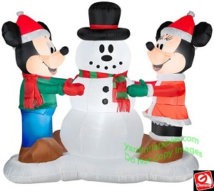 disney mickey minnie mouse decorating snowman - Disney Inflatable Christmas Decorations