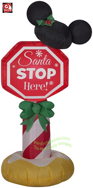 "3 1/2' Mickey Mouse Ears ""Santa Stop Here"" Sign"