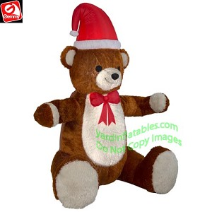 b0987ea347761 Gemmy Airblown Inflatable 7 1 2  Animated Hugging Mixed Media Teddy Bear w  Santa  Hat   Bow Tie