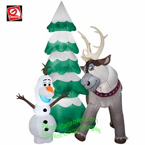 9 olaf sven christmas tree scene - Inflatable Christmas