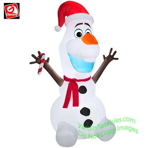 6' Disney's Olaf The Snowman From Frozen Holding Candy Cane