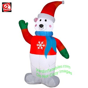 7' Polar Bear Wearing Red Sweater & Blue Scarf