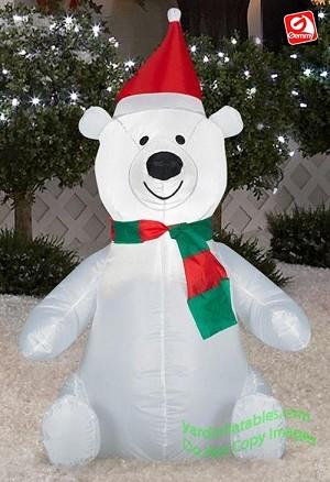 3 12 polar bear wearing santa hat - Polar Bear Inflatable Christmas Decorations