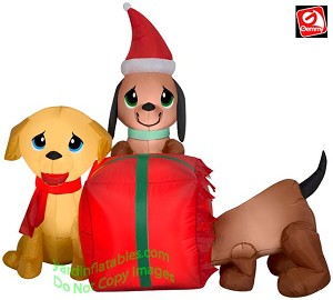 4' Airblown inflatable Puppies and Presents Scene