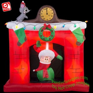 5 1/2' Animated Santa's Head Popping Down Fireplace Scene