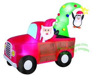 7 1/2' Santa Truck w/ Christmas Tree and Penguin