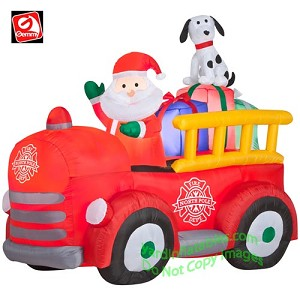 Santa Driving VINTAGE Fire Truck