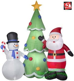 colossal santa snowman christmas tree scene - Santa Snowman