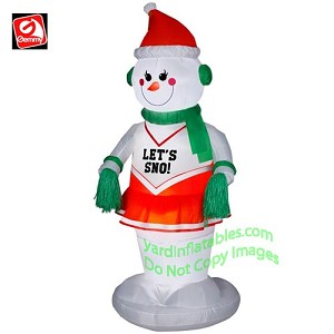 6' Animated Dancing Snowman Cheerleader Girl