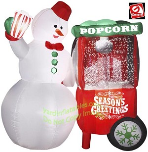 Animated Snowman With Popcorn Machine