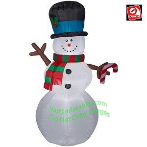 7' Snowman w/ Stick Arms Holding A Candy Cane