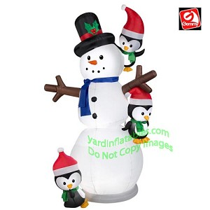 7' Animated Swaying Snowman w/ Penguins