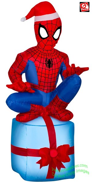 4' Airblown Inflatable Spiderman On Present