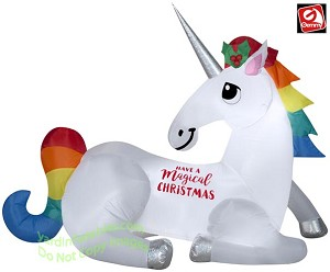6' Airblown Inflatable Magical Christmas Unicorn