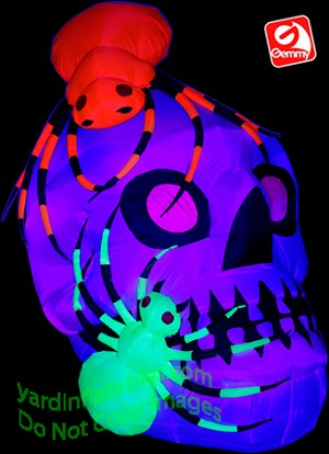 NEON Skull With Spiders