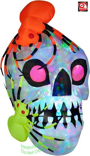 6' Inflatable KALEIDOSCOPE Skull With Spiders