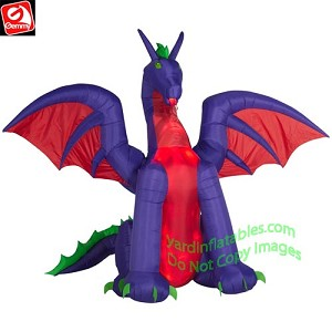 11' Fire & Ice Animated Red & Purple Dragon w/ Moving Wings