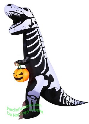 7 halloween t rex w pumpkin tote