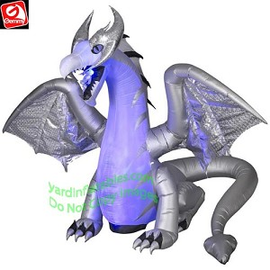 8' Projection Animated White Dragon