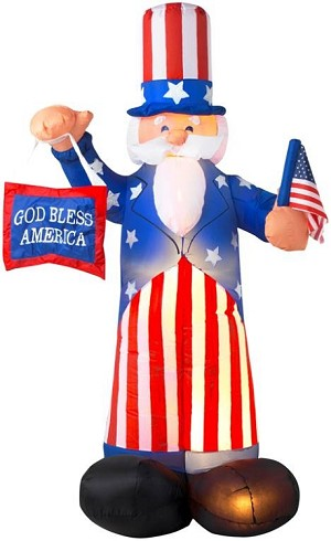 Gemmy Airblown Inflatable Patriotic Uncle Sam Sign and Flag