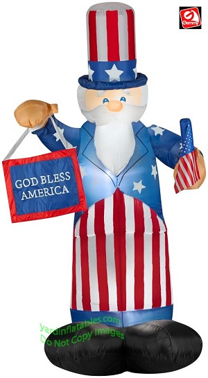 Gemmy Airblown Inflatable Patriotic Uncle Sam Holding Flag & Banner