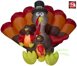 8 1/2' Thanksgiving Turkey Family Scene