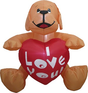 "4' Valentine's Day BROWN Puppy Holding ""I LOVE YOU"" Heart"