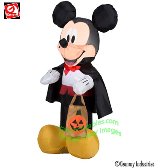 3 1/2' Gemmy Airblown Inflatable Mickey Mouse Vampire Holding Tote