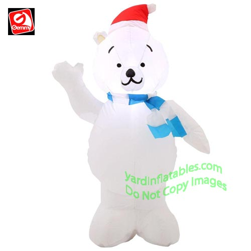 3 1/2' Gemmy Airblown Inflatable Polar Bear Wearing Santa Hat & Blue Striped Scarf